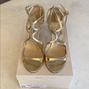 Jimmy Choo Shoes - Jimmy Choo Ivette leather gold sandals